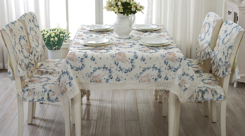 H15 European blue flower TableCloth Set Chair Table Covers Cusion Cotton Polyester Fresh Table Cloth tray cloth table runner(China (Mainland))