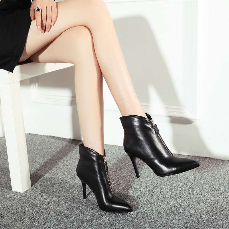 Фотография Office Lady Solid Front Zipper Pointed Toe Shoes Thin And High Heel Shoes Lady Sexy Morden Genuine Real Leather Ankle Boots