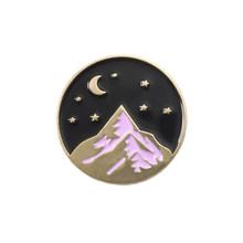 Montagna di neve dello smalto pins Oro argento stellato notte di luna distintivo spilla pin del Risvolto Denim Jeans camicia sacchetto di Natura del Regalo dei monili per il capretto(China)