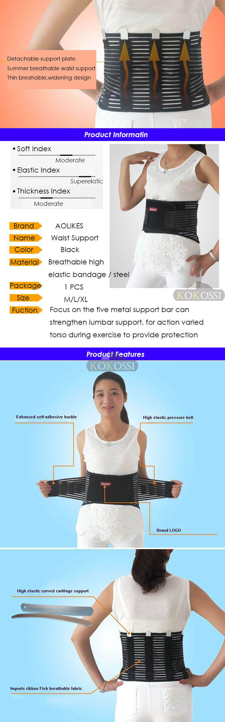 High Elasticity Mesh Breathable With Health Care Removable Steel Waist Support Back Support Brace Bodybuilding Belts cheap
