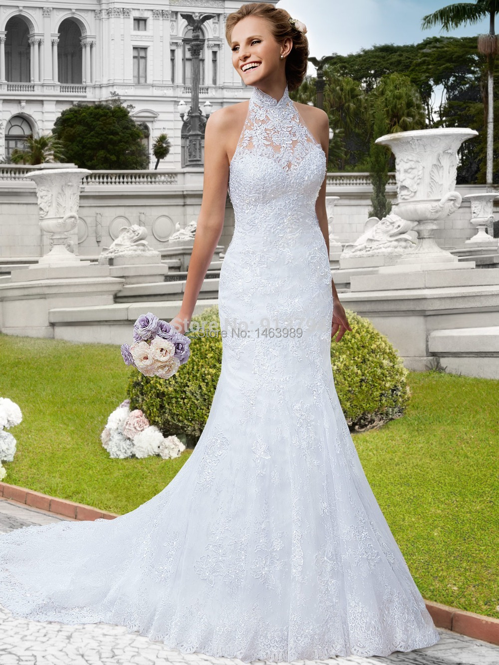 Hot sale halter mermaid wedding dresses strapless lace for Mermaid halter wedding dresses