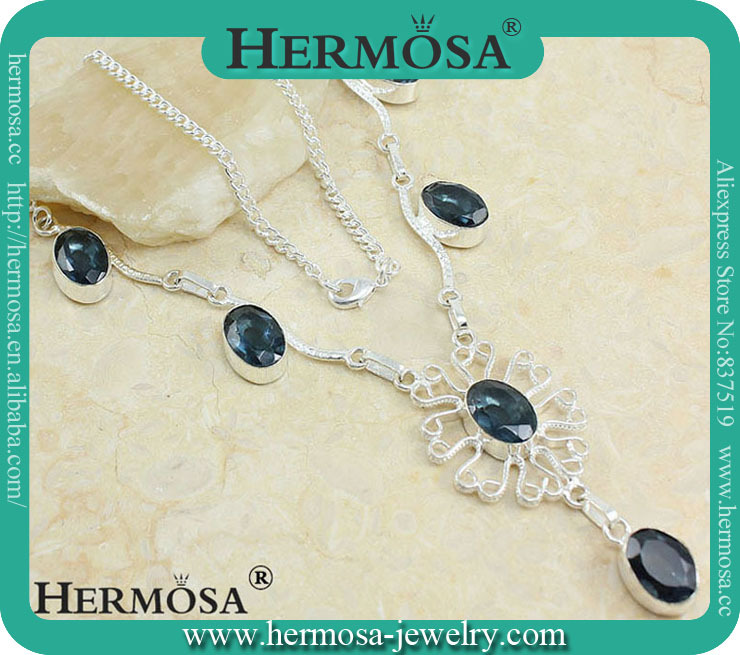 """Hermosa Jewelry Rosary Queen Subtle Smoky Blue Topaz Charm Gift 925 Sterling Silver Chain Necklace 20"""" A406(China (Mainland))"""