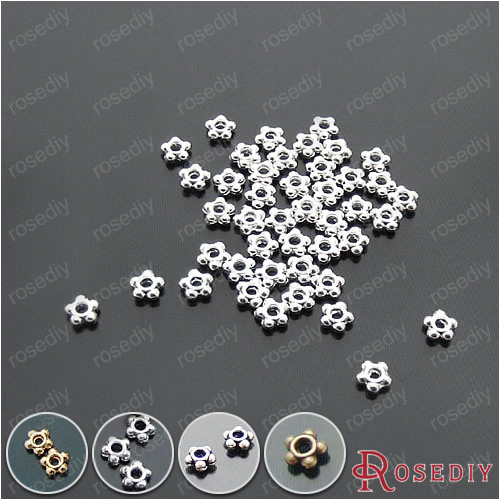 (18184)200PCS 4.5MM Silver Color Plated Zinc Alloy Flower Shape Spacer Beads Diy Jewelry Findings Accessories Wholesale