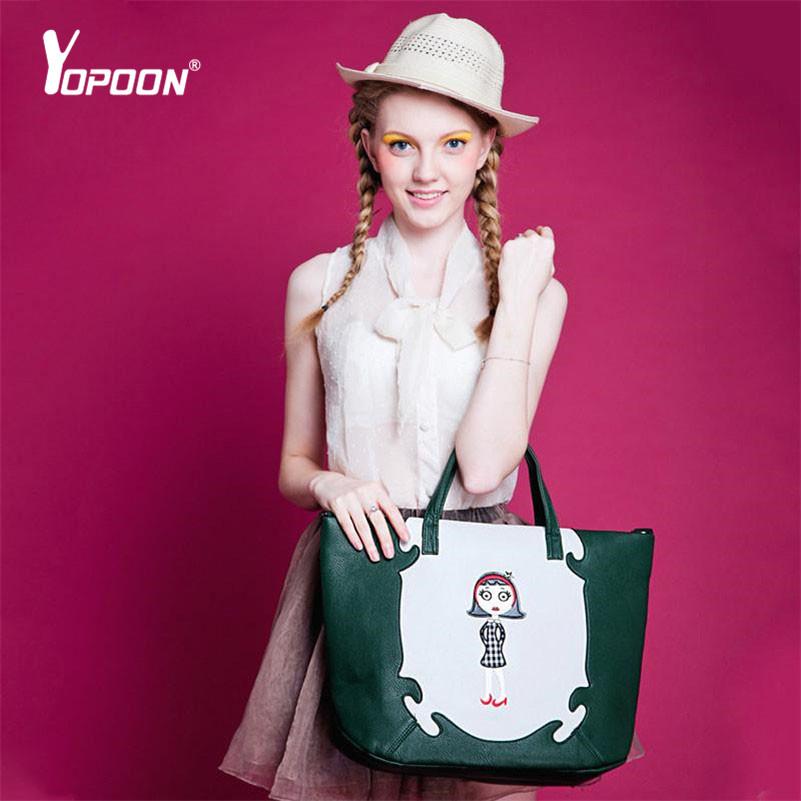 Pu Leather Bags Satchel Imported Brand Designer Bags Cartoon Girl Messenger Casual Bag Shoulder Bags Women Tote Purse Lady Bolsa