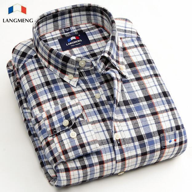 2016 Long Sleeve Plaid England Shirt Men Blouse Brand Luxury Clothing Chemise Camisa Masculina Casual Flannel Shirt Social Male(China (Mainland))