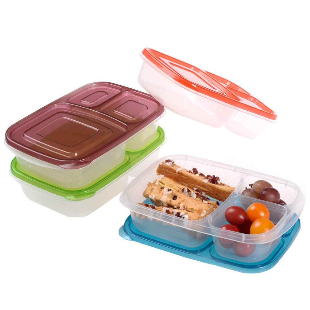classic 3 compartment plastic bento lunch boxes food containers set of 4 in. Black Bedroom Furniture Sets. Home Design Ideas