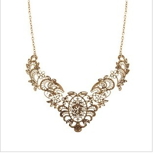 2015 New Fashion Gold Hollow Out Leaf Flower Fake Collar Statement Necklace For Women Fine Jewelry Wholesale(China (Mainland))