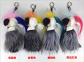 Real Fur Leather Galeries lafayette Monster Pom Pom Blue raccoon fur bag pendant strap Doll Ball