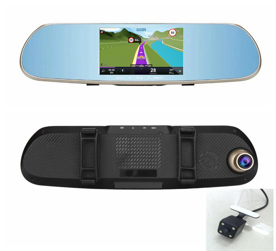 5 inch Rearview Mirror Android WiFi GPS Navigator with Dual Lens Car DVR rearview camera AVIN GPS free maps(China (Mainland))