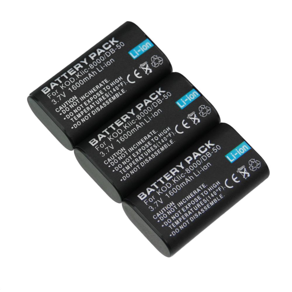 Digital Boy 3PCS KLIC-8000 KLIC 8000 KLIC8000 Rechargeable Lithium Battery for KODAK Z612 Z712 Z812 IS Digital Camera(China (Mainland))
