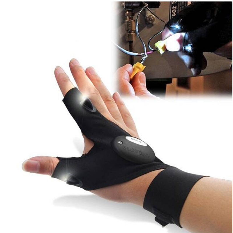Fishing Glove LED Luminous Men Outdoor Auto Repair Lighting Artifact Half Finger Glove Outdoor Sports Anti Slip Fishing Gloves(China (Mainland))