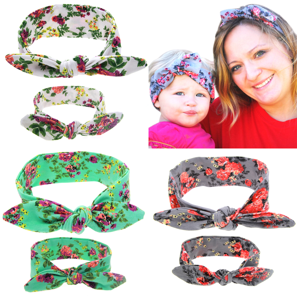 Mom and Kid Headband Pair Set Top Knotted Headband Fashion Hair Bands Cotton Headwrap Flower Hair Accessories For Women(China (Mainland))