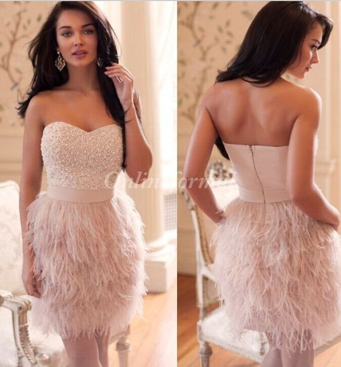 New sweetheart Feather dresses robe de night Cocktail Dresses dresses hot sexy formal event banquest party dresses F535(China (Mainland))