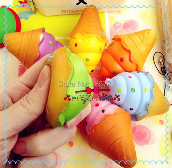 8cm New Kawaii candy Colorful Jombo Ice cream rare squishy phone strap bag charm best friend gifts 1pcs KC078