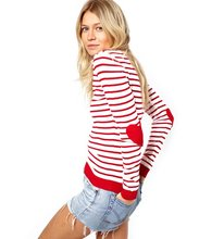 Ideasuke Women's Red Striped Jumper With Heart Elbow Patch Women Long Sleeve Sweaters Casual Knitted Pullovers Simple Elegant(China (Mainland))
