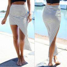 2016 New Fashion Women Summer Beach Bandage Pencil Skirt Side Split Black White Stripes Irregular Sexy Long Maxi Skirts(China (Mainland))