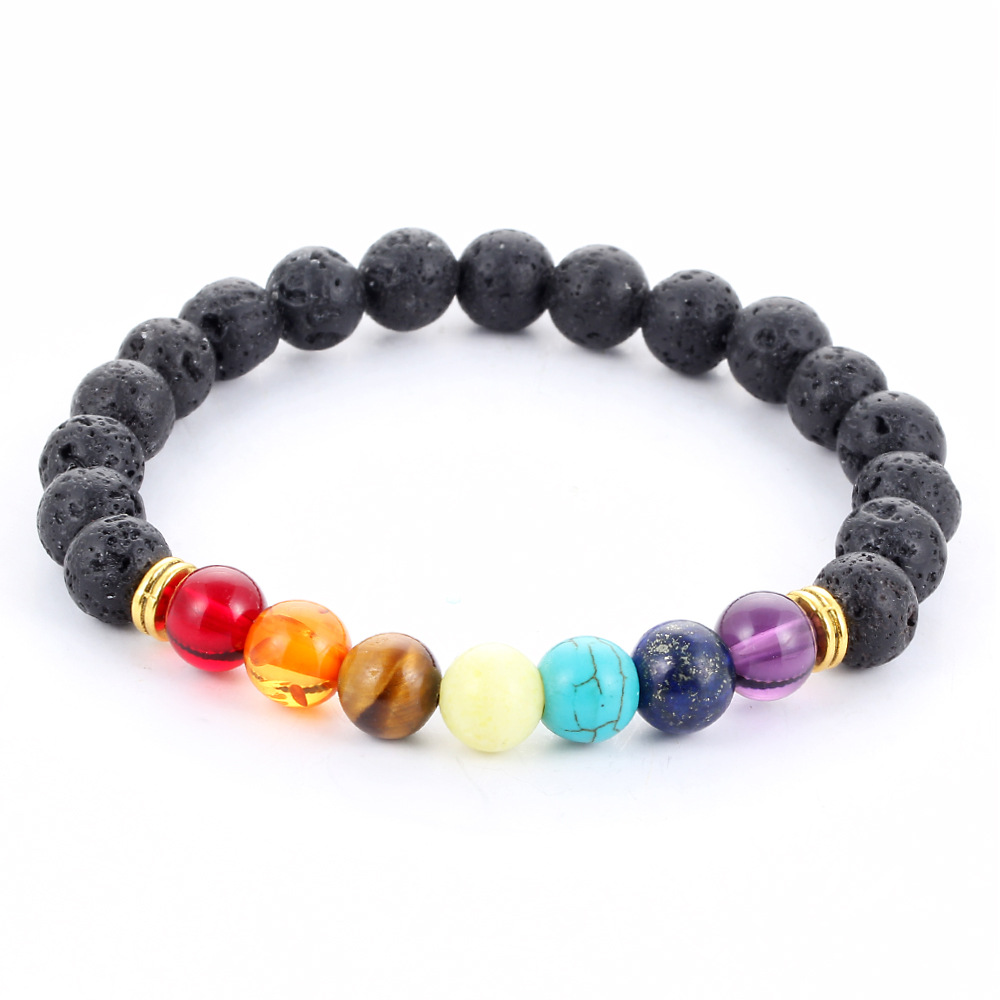 1PC Multicolor Women Men Lava Rock Beaded Stretch Yoga Bracelets Energy Bangle Nice Jewelry(China (Mainland))