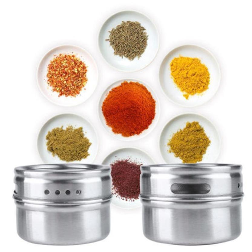 Stainless Steel Magnetic Spice Storage Jar Tins Container With Rack Holder Drop shipping5.26/35%(China (Mainland))