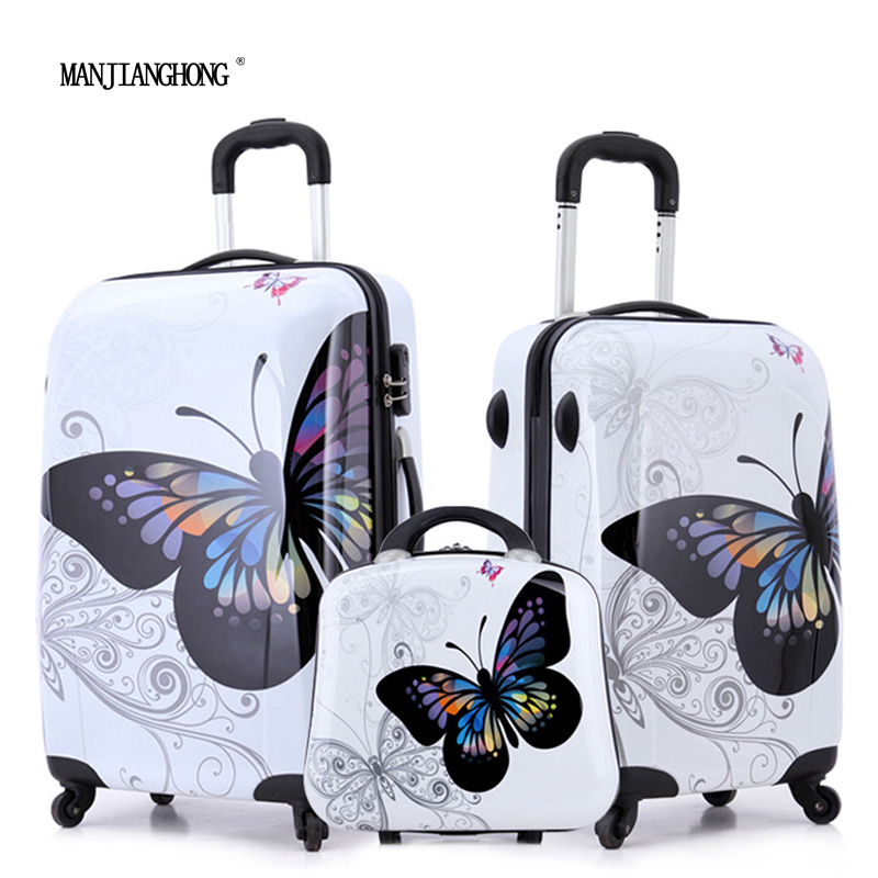 """20""""+24""""+12"""" amazing hot sales Japan butterfly ABS trolley suitcase luggage sets/Pull Rod trunk/traveller case with spinner wheel(China (Mainland))"""