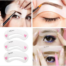 3 styles/set Grooming Stencil Kit Shaping DIY Beauty Eyebrow Template Make Up Tool (China (Mainland))