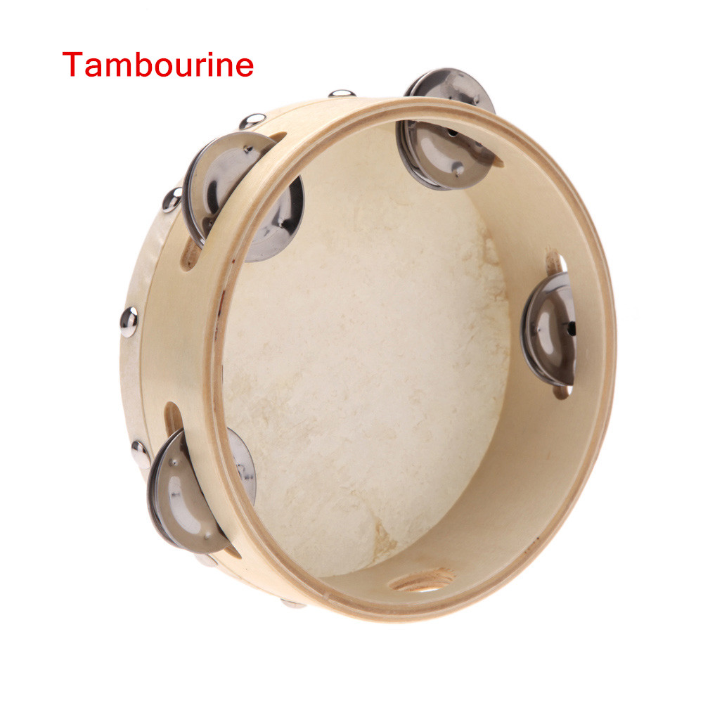 Lambskin Leather Drum Tambourine Samba Poplar Wood Toy Musical Instrument for KTV Party Kids Games(China (Mainland))