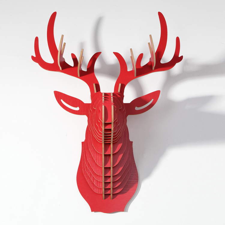 wood carving wall, Wooden Elk Deer head, Animal head for home decoration,DIY mdf craft for wall decoration,christmas decoration(China (Mainland))