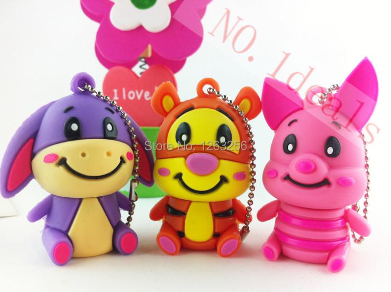 Retail Genuine 2GB 4GB 8GB 16GB 32GB USB Thumb Memory Stick Pen Drive Cartoon Cute Tiger / donkey / pig USB Flash Drive(China (Mainland))
