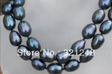 """Free shopping new 2014 diy 8-9mm black south sea  pearl necklace 35"""" GE4547(China (Mainland))"""