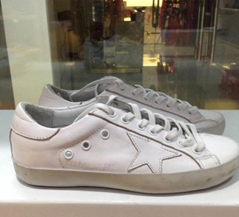 2016 Spring Brand Golden Goose Superstar Genuine Leather White Casual Shoes Men Women Shoes Designer GGDB Scarpe 100% ORIGINAL