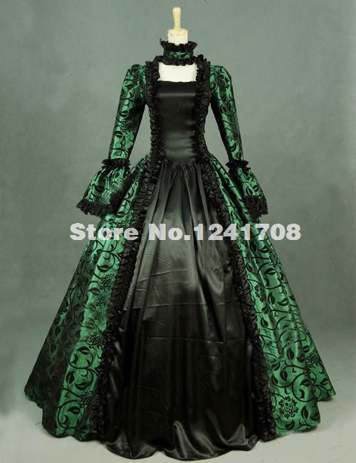 2017 Renaissance Green Printed Brocade Long Prom Party Dress Gown Masquerade Steampunk Witch Reenactment Halloween Costume(China (Mainland))