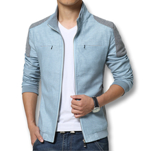 Spring Summer 2016 Men Jackets Fashion Casual Men's Coats Slim Fits Plus Size 3XL 3 Colors Linen Men's Clothing Soft Outwears(China (Mainland))