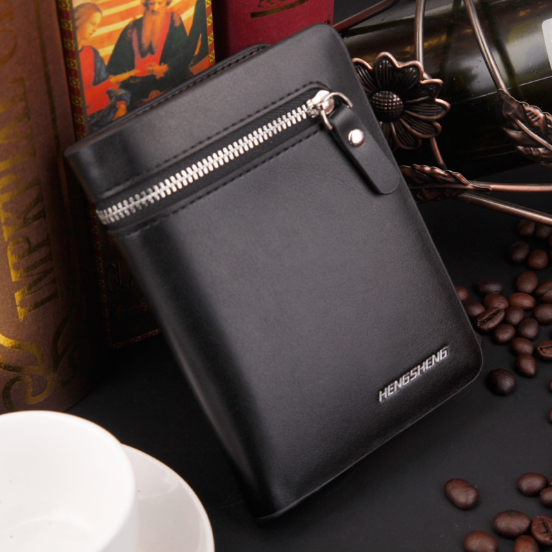 New arrival High quality men's wallets,zipper short vertical wallet,fashion Money clips men's gift purse Free shipping(China (Mainland))