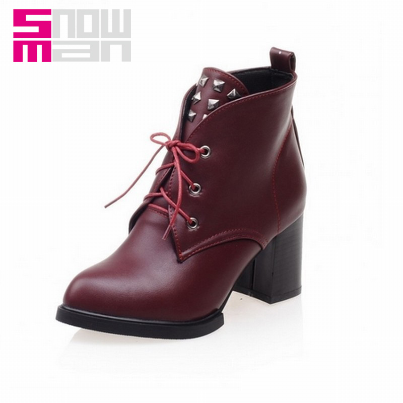 2015 Brand High Heels Martin Boots Short Boots Cool Rivets Cross tie Pointed toe Ankle Boots Fall Winter Boots Women Shoes Woman<br><br>Aliexpress