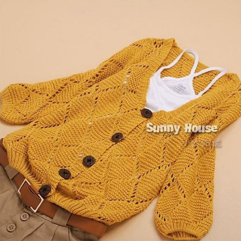 free shipping Women Korean plus size cute hollow loose button knitted V-neck cardigan sweater jacket female oversized sweater