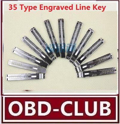 10pcs/lot Original Engraved Line Key for 2 in 1 LiShi 35 Type scale shearing teeth blank car key locksmith tools supplies(China (Mainland))