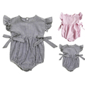 New Linen Wrinkles Cloth Fashion Newborn Baby Girl Clothes Striped Sleeveless Climbing Romper Cute Creeper Free