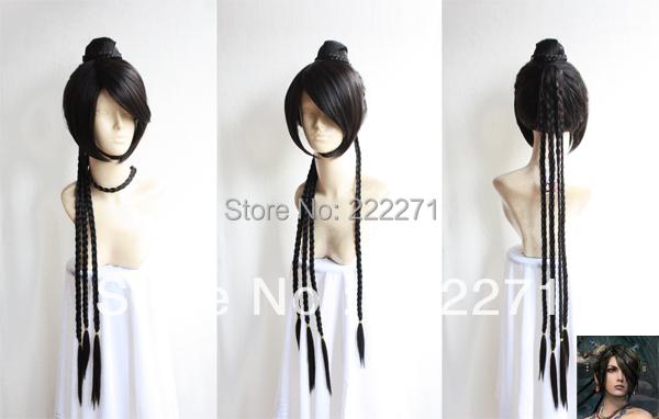 FREE SHIPPING Anime Final Fantasy X Ruru cosplay Long Black  Costume full wig  + Cap