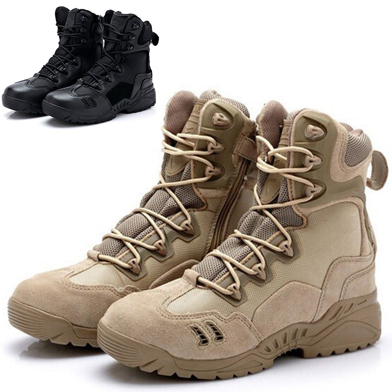 Military Amry Desert Combat Men Boots Tactical Outdoor Hunting Motorcycle Shoes Male Hombre High-top Footwear Big Size Tan Black(China (Mainland))