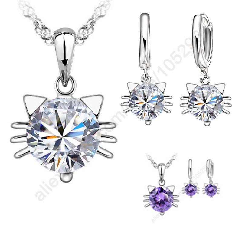 JEXXI Hot Sale!!! New 925 Silver Jewellery Sets Cubic Zircon Pretty Cat Head Kitty Pendant Necklace Hoop Earrings(China (Mainland))