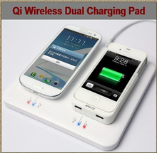 freeshipping Qi Wireless Charger Dual Charging Pad Transmitter Universal for iPhone Samsung Galaxy Nokia Lumia HTC(China (Mainland))