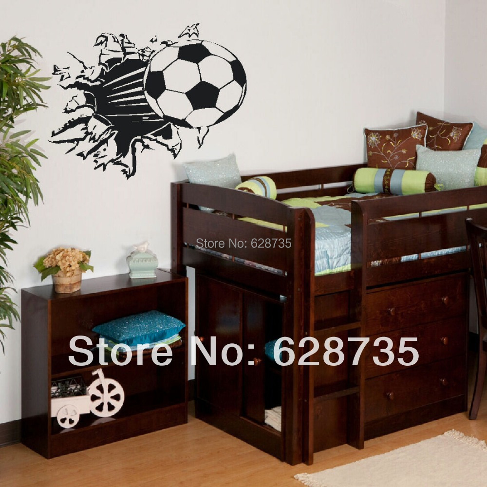 Free Shipping Soccer Ball Football vinyl Wall Sticker Decal Kids Room Decor Sport Boy Art Bedroom,s2002(China (Mainland))