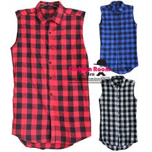 Hip hop clothing tyga mens fashion camisa masculina swag plaid shirts sleeveless side gold zipper man extended mens dress shirt(China (Mainland))