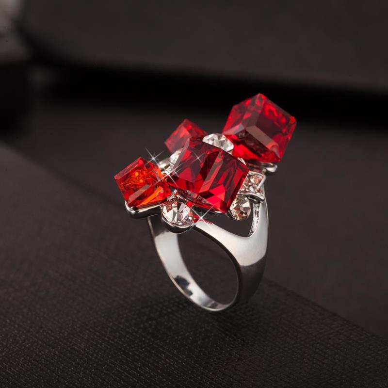 Famous Brand Forever Bijoux Red Marble Stone Rings Cube Silver Plated Trendy 21 Jewelry For Women On Party Or Wedding(China (Mainland))