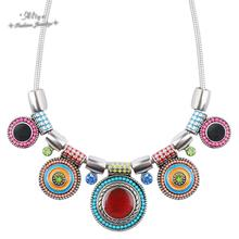 2015 New Choker Maxi Necklace Fashion Ethnic Collares Vintage Colorful Bead Pendant Statement Necklace For Women Jewelry(China (Mainland))