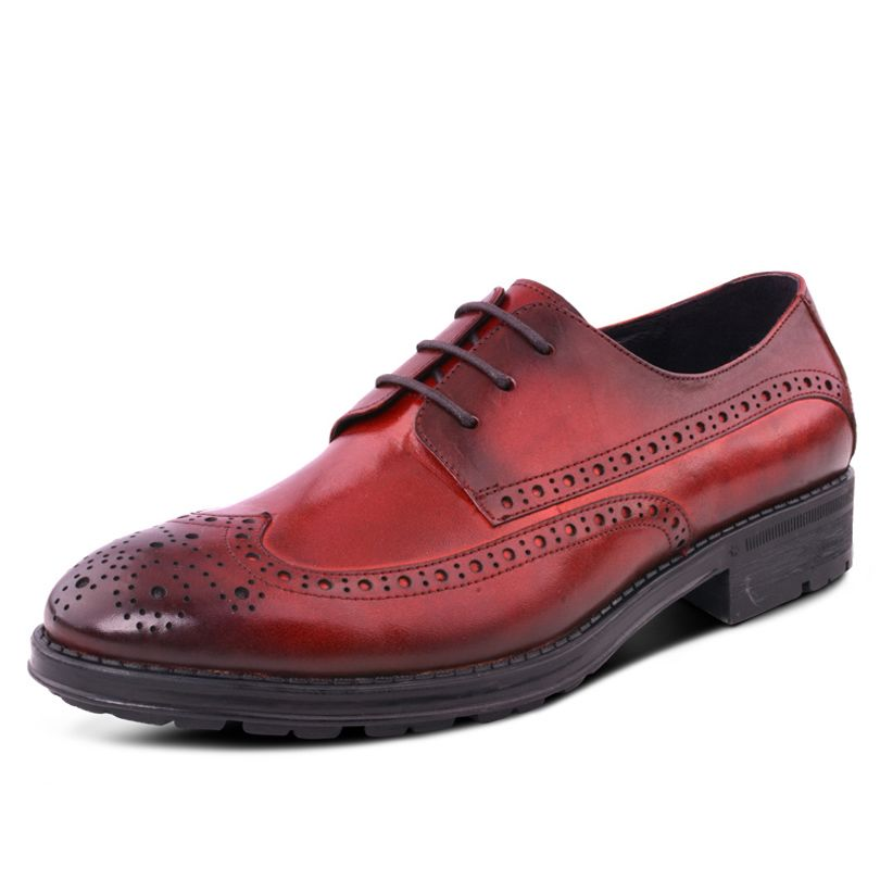 2015 New High Quality Genuine Leather British Style Man Brogues Oxfords Round Toe Lace up Mens Dress Derby Flats Shoes GLM1268<br><br>Aliexpress