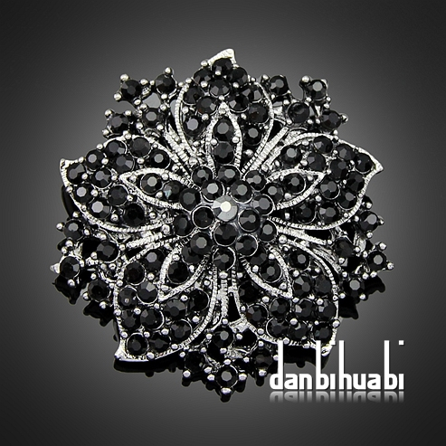 7 colors' Vintage Style Black Rhinestone Crystal Diamante Party Brooch pins for women Ac036(China (Mainland))
