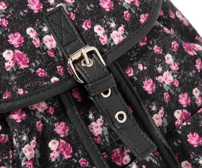 Женщины мешок весна лето цветочный печать рюкзаки женское хлопок брезент плечо спорт мешок пряжка насосная рюкзак