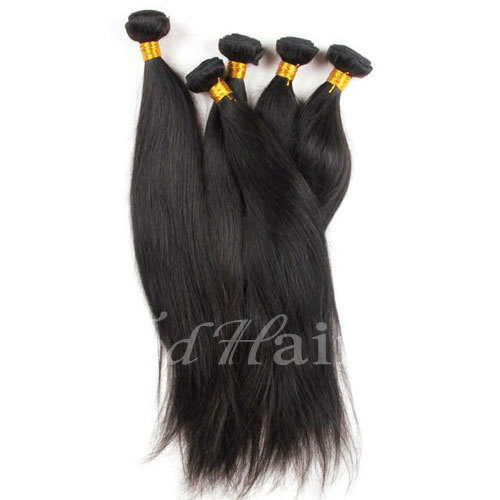 12 14...30 Less Expensive Natural Black Real Brazilian Virgin Straight Hair Weave with Free Shipping(China (Mainland))