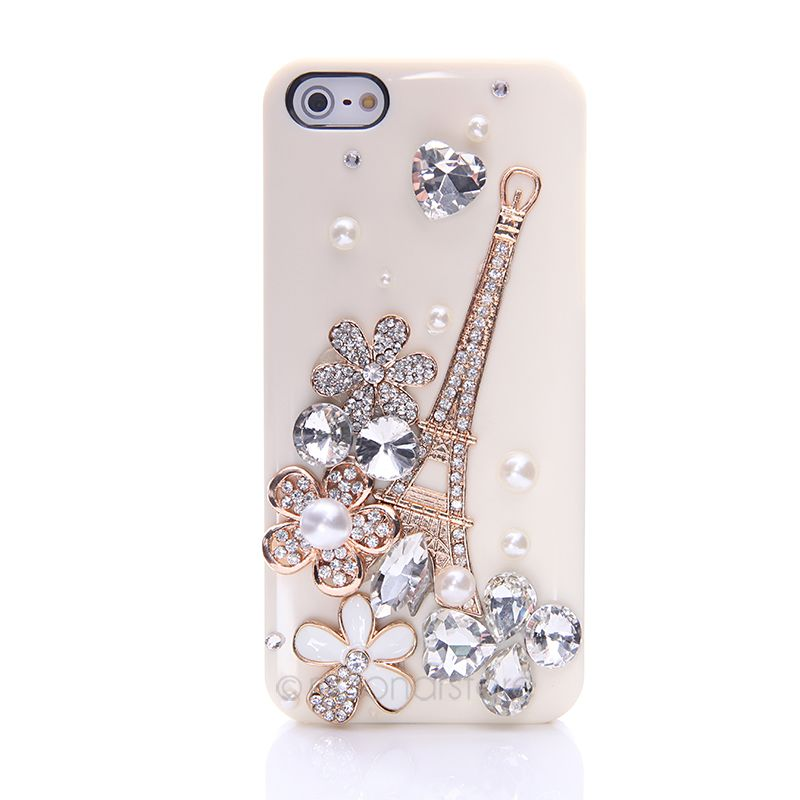 2016 Hand-Made 3D Phone Case For iPhone 5 5s Pink Eiffel Tower Flower Crystal Rhinestone Phone Protector for Girls(China (Mainland))