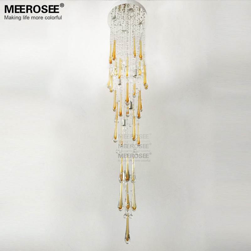 Modern Crystal Chandeliers Light Fixture Long Large